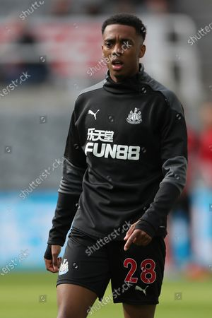 Newcastle United's Joe Willock warms up prior to the Premier League match between Newcastle United and Sheffield United at St. James's Park, Newcastle on Wednesday 19th May 2021.