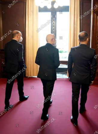 Heiko Maas (R), German Minister for Foreign Affairs, Peter Tschentscher, First Mayor of the Free and Hanseatic City of Hamburg, and Niels Annen (L), Minister of State at the Federal Foreign Office, at the beginning of the 131st meeting of the Committee of Ministers of the Council of Europe in the Kaisersaal at City Hall in Hamburg, Germany, 21 May 2021. At the meeting, the six-month chairmanship of the Committee of Ministers of the Council of Europe will be handed over from Germany to Hungary. The Council of Europe, with its seat in Strasbourg, France, works together with its Court of Justice to uphold human rights in EU member states.