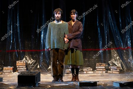 Stock Picture of The interpreters Ricardo Gomez and Belen Cuesta during the performance of the play 'The Pillow Man', by the Anglo-Irish playwright Martin McDonagh, winner of the Golden Globe for Best Screenplay in 2017, at the Canal theaters in Madrid. May 20, 2021 Spain