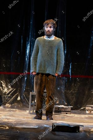 The interpreters Ricardo Gomez during the performance of the play 'The Pillow Man', by the Anglo-Irish playwright Martin McDonagh, winner of the Golden Globe for Best Screenplay in 2017, at the Canal theaters in Madrid May 20, 2021 Spain