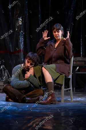 The interpreters Ricardo Gomez and Belen Cuesta during the performance of the play 'The Pillow Man', by the Anglo-Irish playwright Martin McDonagh, winner of the Golden Globe for Best Screenplay in 2017, at the Canal theaters in Madrid. May 20, 2021 Spain