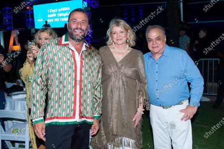 Dave Grutman, from left, Martha Stewart, and Lee Brian Schrager attend SOBEWFF® 20th Anniversary Celebration at Fontainebleau Hotel, in Miami Beach, Fla