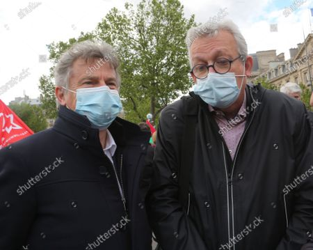 Stock Picture of Fabien Roussel, Secretary General of the Communist Party, depute PC and Pierre Laurent former Secretary General of the Communist Party, Senator are in Paris.