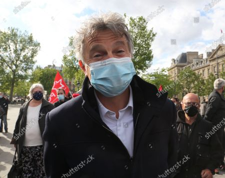 Stock Photo of Fabien Roussel, Secretary General of the Communist Party, depute PC and Pierre Laurent former Secretary General of the Communist Party, Senator are in Paris.