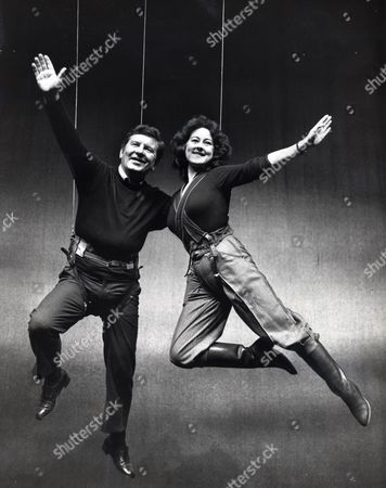 Editorial photo of Television Presenter & Newsreader Richard Baker With Jane Carr (as Wendy) For Barbican's Peter Pan