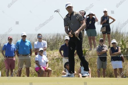 Martin Laird, of Scotland, reacts as he misses a birdie putt on the 14th hole during the second round of the PGA Championship golf tournament on the Ocean Course, in Kiawah Island, S.C