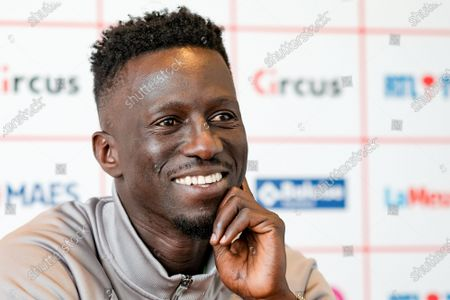 Standard's head coach Mbaye Leye pictured during a press conference of Belgian soccer team Standard de Liege, Friday 21 May 2021 in Liege, ahead of their last game in the Europe play-offs of the 'Jupiler Pro League' Belgian soccer championship.