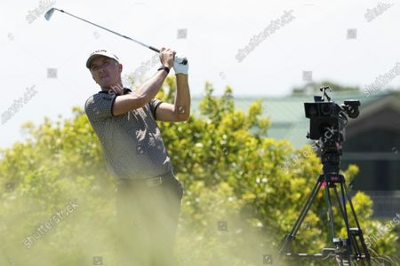 Martin Laird, of Scotland, watches his tee shot on the 14th hole during the second round of the PGA Championship golf tournament on the Ocean Course, in Kiawah Island, S.C