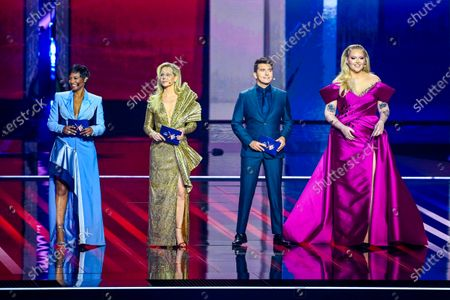 Edsilia Rombley, Chantal Janzen, Jan Smit and Nikkie de Jager during the first dress rehearsal of the final of the Eurovision Song Contest 2021 at Ahoy arena in Rotterdam, Netherlands