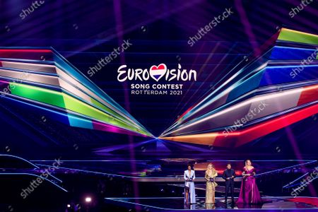 Stock Photo of Edsilia Rombley, Chantal Janzen, Jan Smit and Nikkie de Jager during the first dress rehearsal of the final of the Eurovision Song Contest 2021 at Ahoy arena in Rotterdam, Netherlands