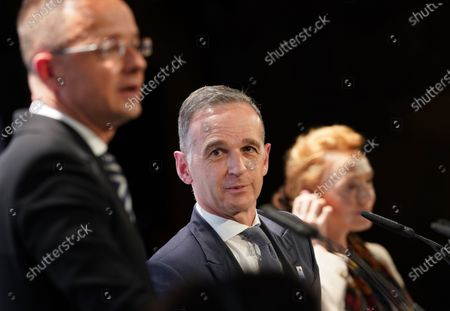(L-R) Hungarian Foreign Minister Peter Szijjarto, German Minister for Foreign Affairs Heiko Maas and Secretary General of the Council of Europe Marija Pejcinovic Buric attend a press conference after the 131st meeting of the Committee of Ministers of the Council of Europe at City Hall in Hamburg, Germany, 21 May 2021. At the meeting, the six-month chairmanship of the Committee of Ministers of the Council of Europe will be handed over from Germany to Hungary. The Council of Europe, with its seat in Strasbourg, France, works together with its Court of Justice to uphold human rights in EU member states.