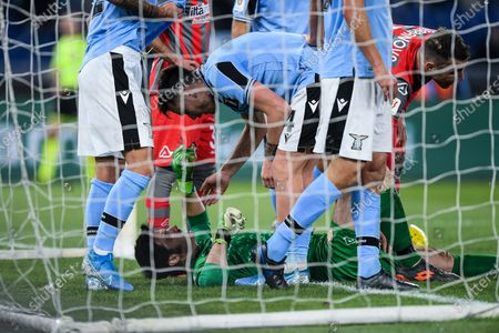 Stock Photo of Michael Agazzi of Cremonese lies injured during the Italian Cup match between Lazio and Cremonese at Stadio Olimpico, Rome, Italy on 14 January 2020.