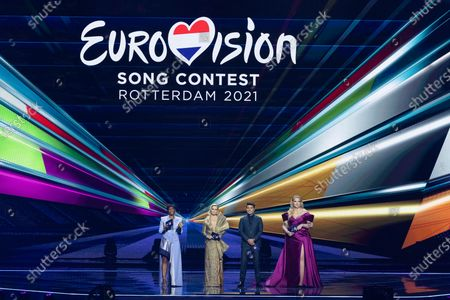 The hosts of the show (l-r) Edsilia Rombley, Chantal Janzen, Jan Smit and Nikkie de Jager during the second dress rehearsal (Jury Final) for the Grand Final of the Eurovision Song Contest 2021