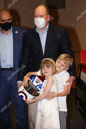 Stock Image of Prince Jacques of Monaco, Princess Gabriella of Monaco, Prince Albert II of Monaco