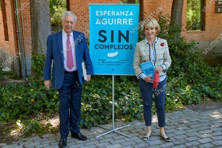 Esperanza Aguirre and Mario Vargas Llosa attend Sin Complejos Book presentation at Biblioteca Municipal Eugenio Trias.