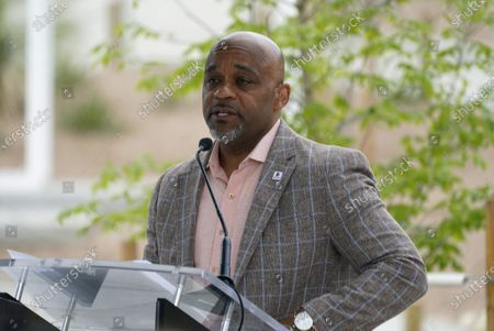 Denver Mayor Michael Hancock makes a point during a ceremony to mark the public opening of the new animal hospital serving the zoos 3,000 residents, in Denver. A grant from the Helen and Arthur E. Johnson Foundation combined with funds from a 2017 bond issue were used to build the state-of-the-art hospital, which offers visitors a chance to watch procedures through the viewing windows in the lobby