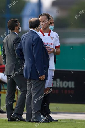 Jose Castro Carmona president of Sevilla and  Ivan Rakitic talking after the pre-season friendly match between Sevilla  CF and UD Levante at Pinatar Arena on September 15, 2020 in Murcia, Spain.