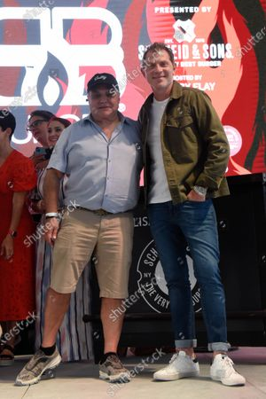Ian Shrager, left, and Chef Bobby Flay attend Burger Bash at the 20th South Beach Wine and Food Festival in Miami Beach, Florida, USA - 21 May 2021