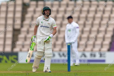 Sam Evans during the final day of the LV= Insurance County Championship match between Hampshire County Cricket Club and Leicestershire County Cricket Club at the Ageas Bowl, Southampton