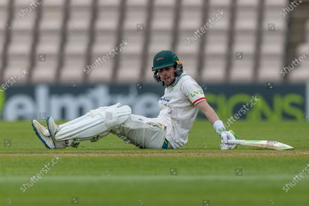 Sam Evans is felled while batting during the final day of the LV= Insurance County Championship match between Hampshire County Cricket Club and Leicestershire County Cricket Club at the Ageas Bowl, Southampton