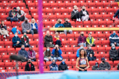 Morgan Lake of Great Britain lining up her first jump with a back drop of a limited group of supporters in Gateshead; Gateshead International Stadium, Gateshead, Tyne and Wear, England; Muller Diamond League Grand Prix Athletics, Gateshead.