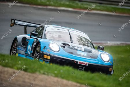 Nick Jones & Scott Malvern, Porsche 911 GT3 R, Team Parker Racing exit Stirlings during Round 1 Practice and Qualifying of the British GT Championship at Brands Hatch Circuit on 22nd May 2021