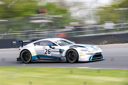 Michael Brown & Matt Manderson, Aston Martin Vantage AMR GT3, Ultimate Speed exit Druids during Round 1 Practice and Qualifying of the British GT Championship at Brands Hatch Circuit on 22nd May 2021