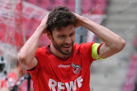 Cologne's Jonas Hector reacts during the German Bundesliga soccer match between FC Koeln and FC Schalke 04 in Cologne, Germany, 22 May 2021.