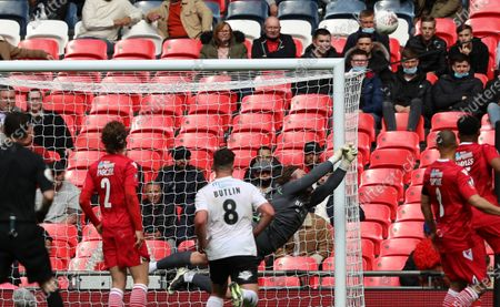 Joe Wright of Hornchurch pushes a shot around the post during Hereford FC vs Hornchurch, Buildbase FA Trophy Final Football at Wembley Stadium on 22nd May 2021