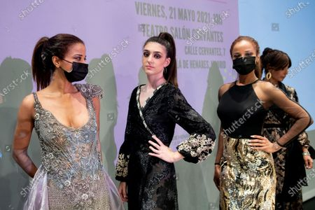 National Fashion Awards for young designer at the Cervantes Theatre in Alcala de Henares mear Madrid on May 21, 2021. Designers' shows and backstageJoana Bonecas (R), Maria Jurado (C), Missdjoa