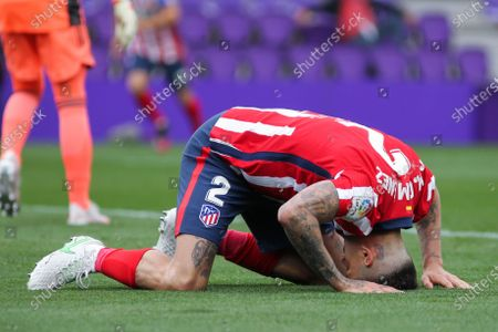 Jose Maria Gimenez of Atletico de Madrid lamenting during La Liga football match between Real Valladolid and Atletico de Madrid at Jose Zorrilla stadium on May 21, 2021 in Valladolid, Spain.