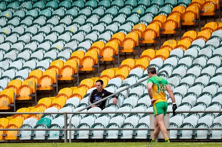 Donegal vs Monaghan. Donegal's Michael Murphy leaves the field early