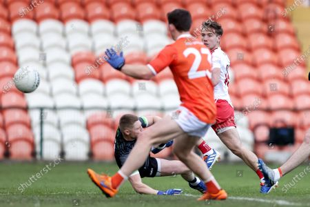 Armagh vs Tyrone. Tyrone's Lee Brennan scores his side's second goal