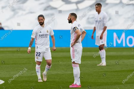 Karim Benzema and Isco Alarcon of Real Madrid