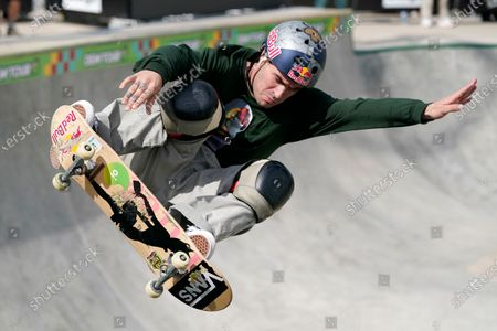 Stock Photo of Pedro Barros, of Brazil, competes in the Olympic qualifying skateboard event at Lauridsen Skatepark, in Des Moines, Iowa