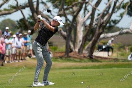 Martin Laird, of Scotland, hits out of the second fairway during the third round at the PGA Championship golf tournament on the Ocean Course, in Kiawah Island, S.C