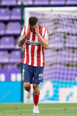 Jose Maria Gimenez of Atletico Madrid lament a failed occasion during the La Liga Santander match between Real Valladolid CF and Atletico de Madrid at Estadio Municipal Jose Zorrilla on May 22, 2021 in Valladolid, Spain. Sporting stadiums around Spain remain under strict restrictions due to the Coronavirus Pandemic as Government social distancing laws prohibit fans inside venues resulting in games being played behind closed doors