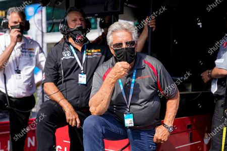 Car owner Michael Andretti and his father Mario Andretti in the pit area during qualifications for the Indianapolis 500 auto race at Indianapolis Motor Speedway in Indianapolis