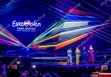 Stock Picture of Presenters Edsilia Rombley, Chantal Janzen, Jan Smit and Nikkie de Jager during the Grand Final of the 65th annual Eurovision Song Contest (ESC) at the Rotterdam Ahoy arena, in Rotterdam, The Netherlands, 22 May 2021. Due to the coronavirus (COVID-19) pandemic, only a limited number of visitors is allowed at the 65th edition of the Eurovision Song Contest (ESC2021) that is taking place in an adapted form at the Rotterdam Ahoy.