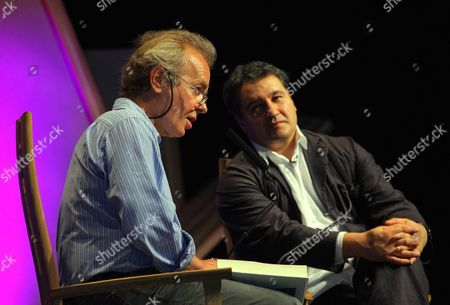 L-R Author Martin Amis with festival organiser Peter Florence