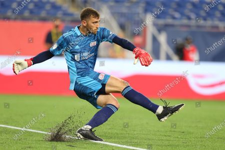 Foxborough, MA, USA; New England Revolution goalkeeper Matt Turner (30) in action during an MLS match between New York Red Bulls Union and New England Revolution at Gillette Stadium