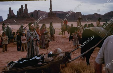 Scene from the filming of the movie 'Cheyenne Autumn' in Monument Valley, Arizona, circa 1963.