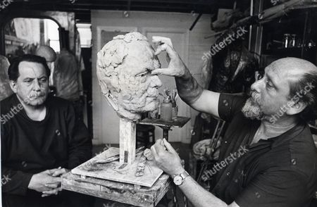 Sculptor Anthony Gray Starts Work On The Head Of Artist Pietro Annigoni (died 10/88) At His Studios In Chelsea.