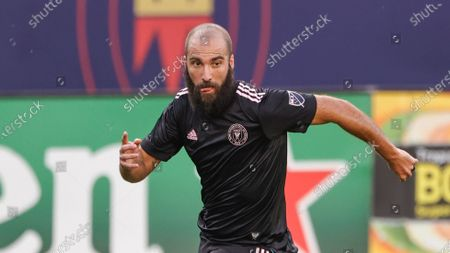 Inter Miami forward Gonzalo Higuain (9) in action against the Chicago Fire during the first half of an MLS soccer match, in Chicago