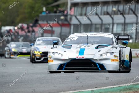 Michael Brown & Matt Manderson, Aston Martin Vantage AMR GT3, Ultimate Speed into Paddock Hill Bend during Round 1 of the British GT Championship at Brands Hatch Circuit on 23rd May 2021