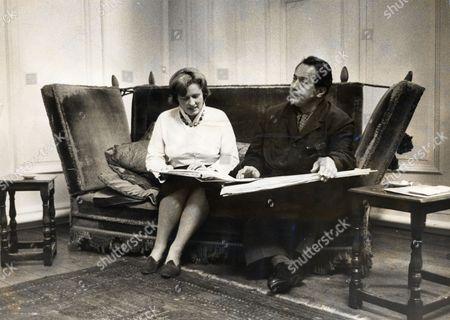 Artist Pietro Annigoni (died 10/88) In His Studio With Secretary Mrs Osborn.
