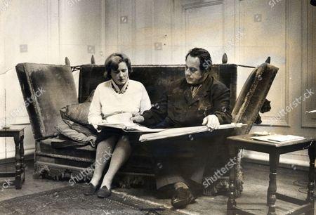 Artist Pietro Annigoni (died 10/88) In His Studio With Secretary Mrs Cedra Osborn.