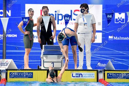 Women's 4X100 Medley Heats. Ireland's Danielle Hill, Mona McSharry, Elle Walshe and Victoria Catterson after finishing 4th