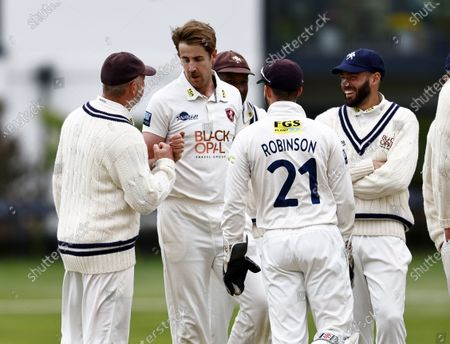 Matt Quinn (2nd L) of Kent is congratulated after bowling David Lloyd during Kent CCC vs Glamorgan CCC, LV Insurance County Championship Group 3 Cricket at The Spitfire Ground on 23rd May 2021