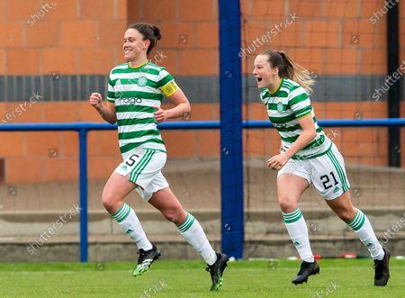 Celtic Women's Midfielder Kelly Clark celebrates scoring her sides first goal